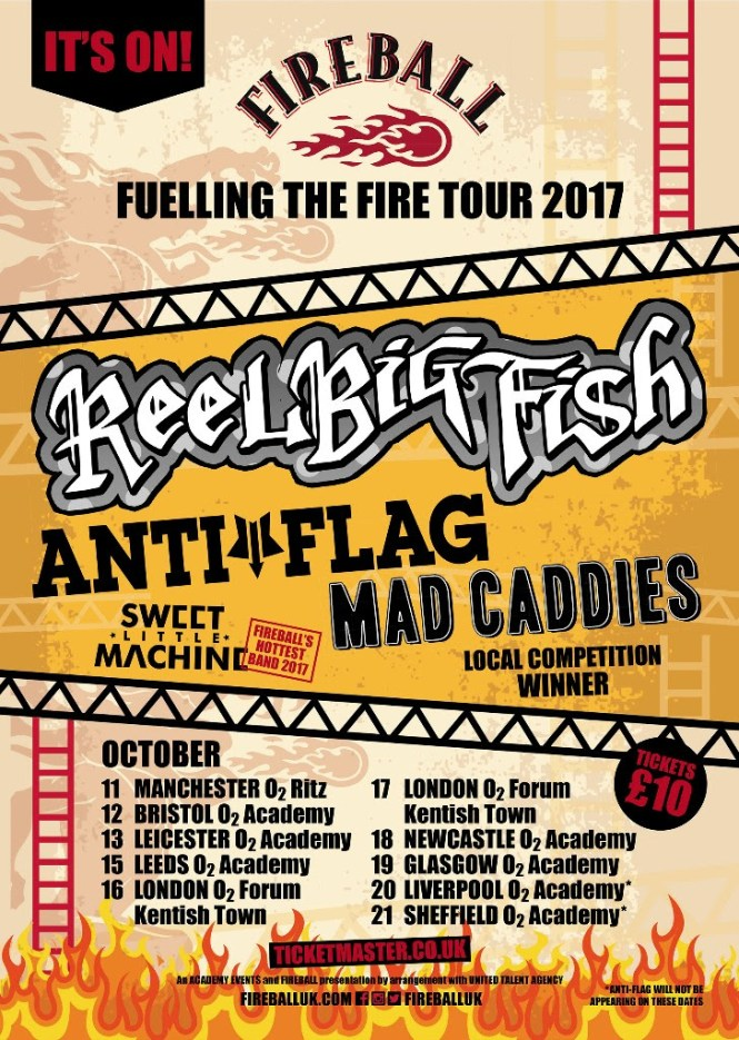 Fireball - Fuelling The Fire Tour 2017 Announces Reel Big Fish, Anti-Flag and more