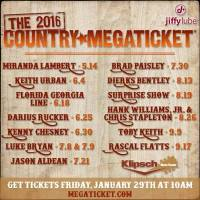 Klipsch Music Center in Noblesville, IN announces it's Country Mega Ticket!