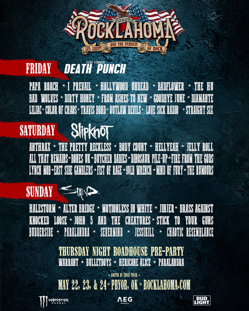 Rocklahoma Day by Day Lineup