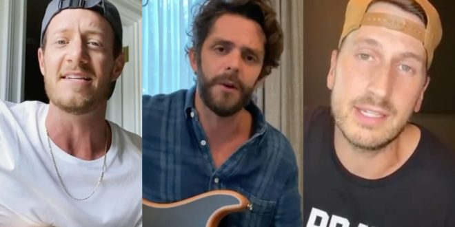 Tyler Hubbard, Thomas Rhett and Russell Dickerson; Photo Courtesy of Instagram