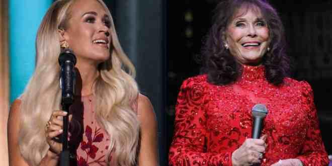 Carrie Underwood Photo Courtesy of ACM Awards, Loretta Lynn Photo by Terry Wyatt/Getty Images for Americana Music