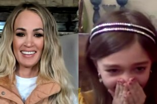 Carrie Underwood And 7-year-old fan Hayley; Photo By The Drew Barrymore Show