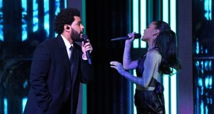 The Weeknd and Ariana Grande; Photo by Kevin Mazur/Getty Images for iHeartMedia