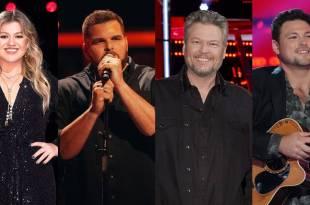 Kelly Clarkson, Jake Hoot, Blake Shelton and Ian Flanigan; Photo Courtesy of NBC