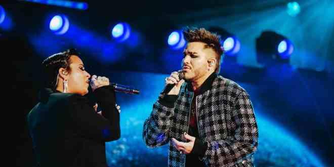 Demi Lovato and Adam Lambert; Photo by Rozette Rago for Global Citizen