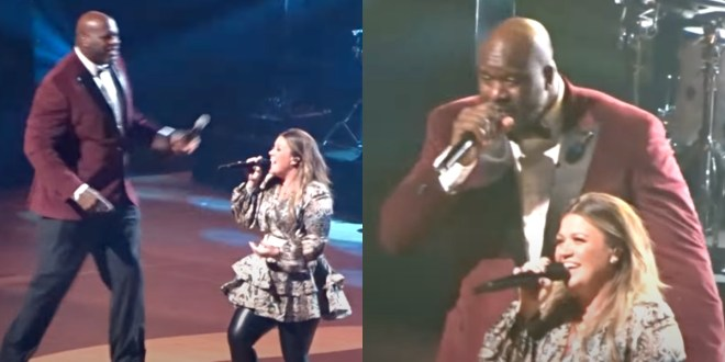 Shaquille O'Neal and Kelly Clarkson; Photo Courtesy of YouTube