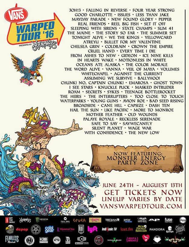 Vans Warped Tour Announces 2016 Band Lineup Tickets On Sale Now Vanswarpedtour Com