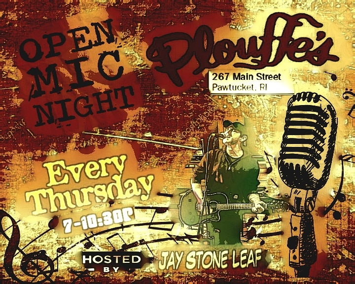 Tonight! Open Mic Night at Plouffe's! Music, Comedy, Poetry….all are welcome!