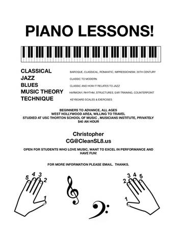 Piano Lessons: Classical, Jazz, Blues, Popular (Will Travel)