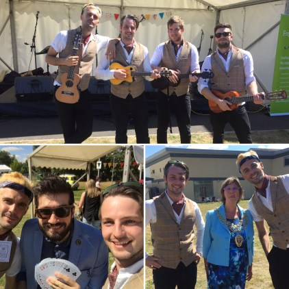 Ukes of Hazzard Ukulele party wedding corporate function band bucks england perform at Frefest 16