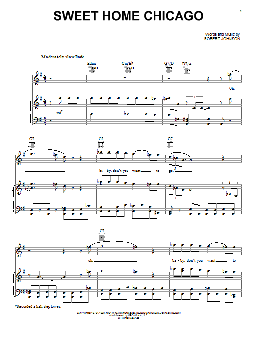 """""""sweet home chicago"""" is a popular blues standard in the twelve bar form. Robert Johnson Sweet Home Chicago Sheet Music Notes Chords Piano Download Blues 42249 Pdf"""