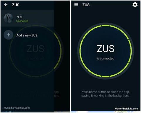 ZUS app screenshot when pairing for the first time