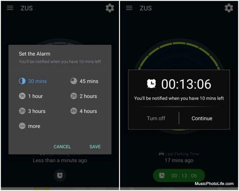 ZUS app parking timer