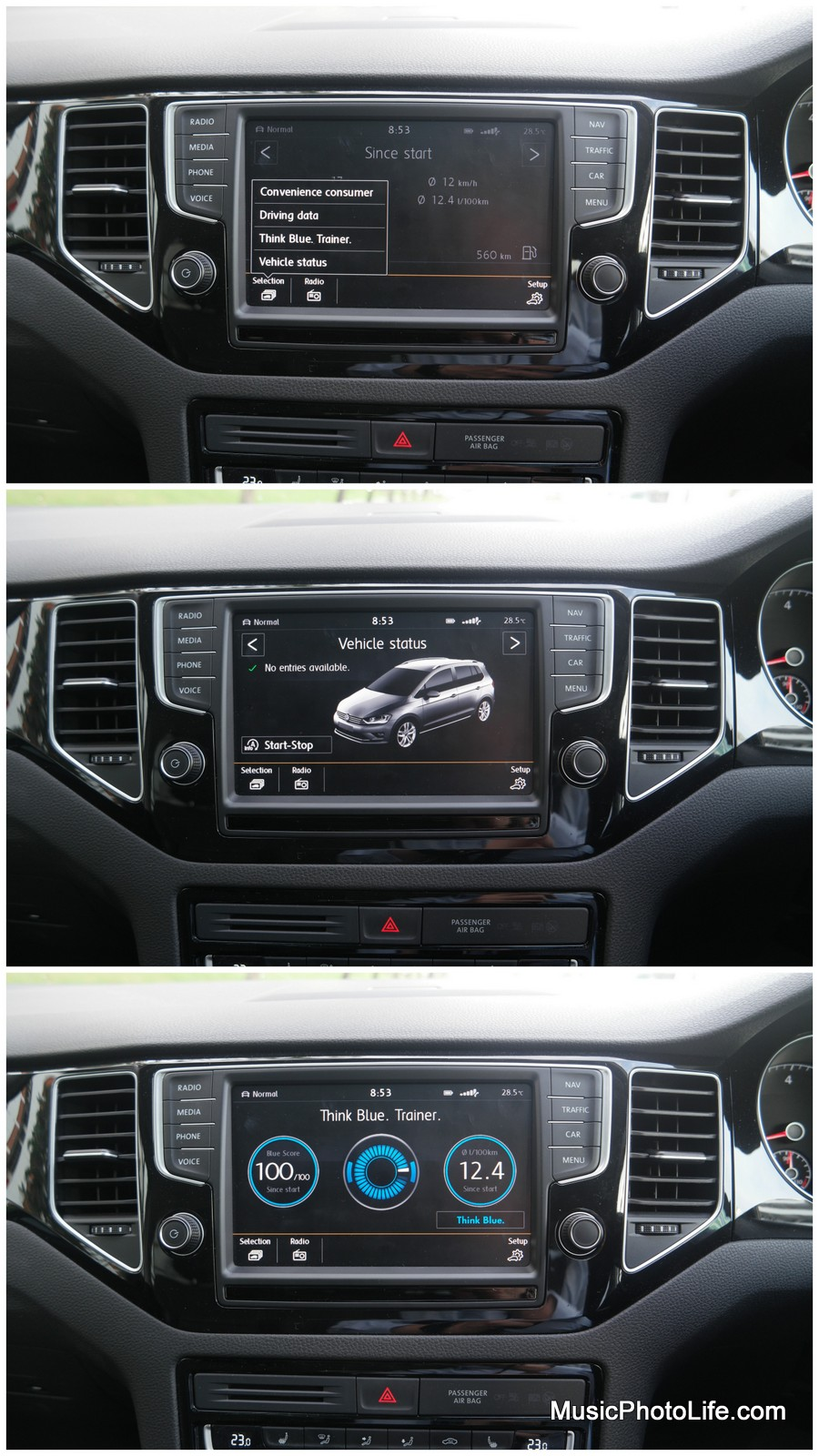 VW Sportsvan Infotainment System Car Menu