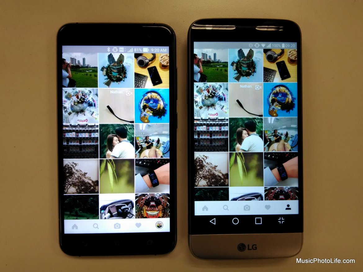 Compare ASUS Zenfone 3 and LG G5 screen brightness