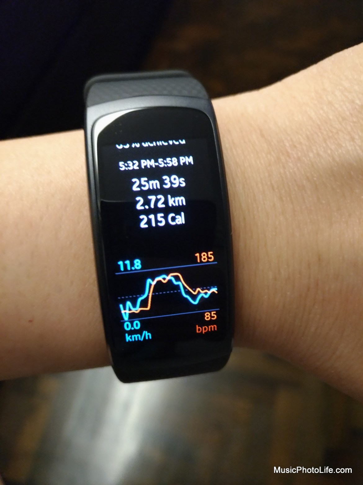 Samsung Gear Fit2 detailed workout stats