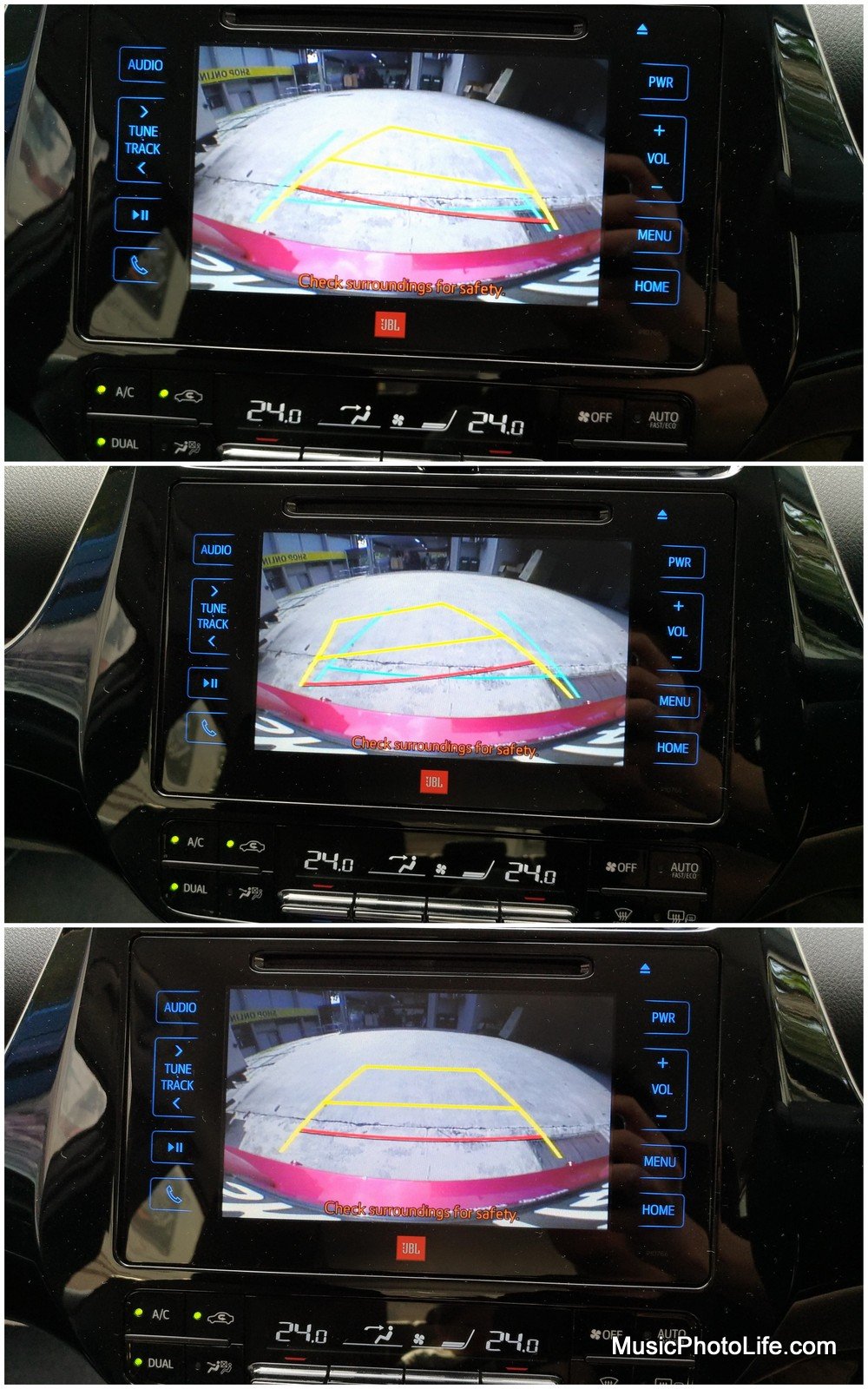 Toyota Prius 2016 reverse camera dynamic guideline