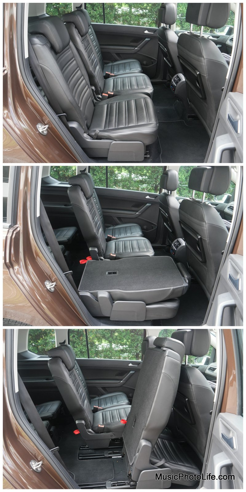 Volkswagen Touran ways to fold the middle row seat