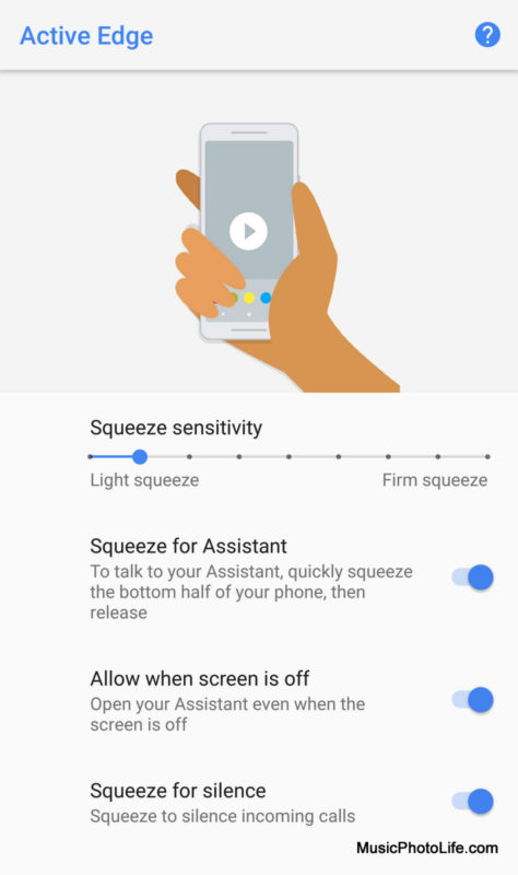 Google Pixel 2 XL Active Edge screen option