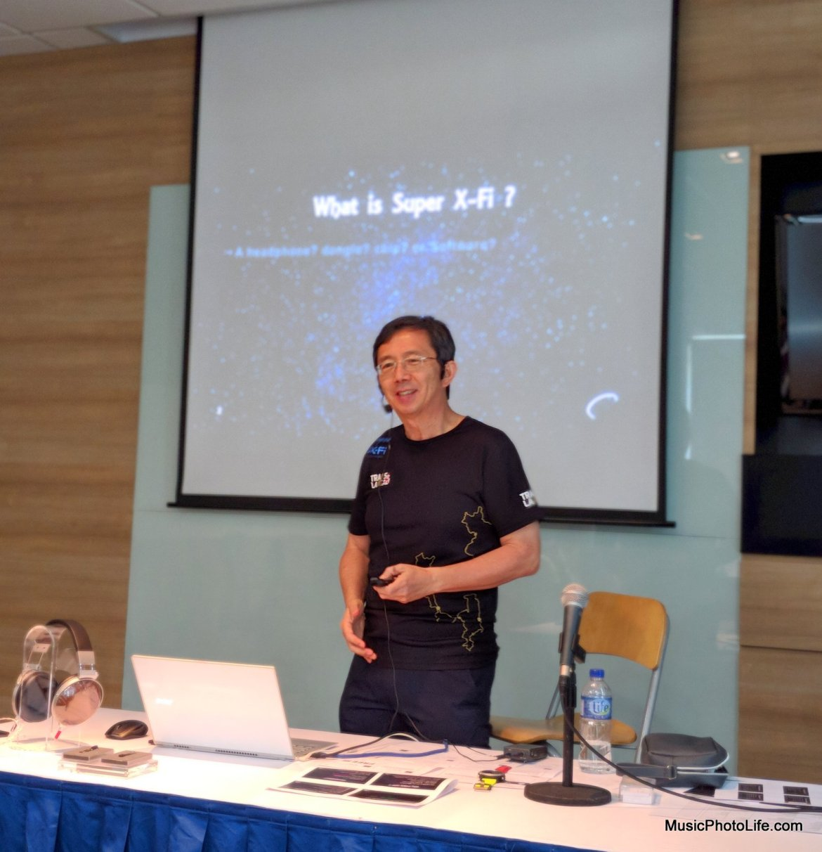 Mr Sim Wong Hoo presenting at Creative Super X-Fi demo event at Singapore 28 Feb 2018 Creative Office