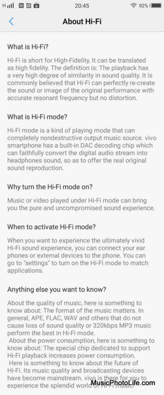 Vivo V7+ Hi-Fi screen shot