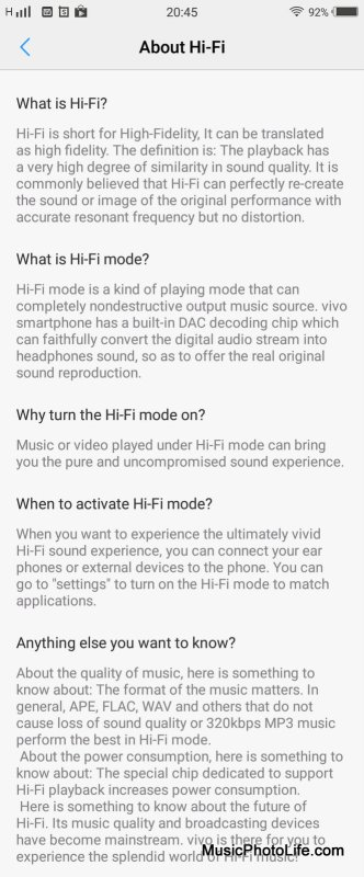 Vivo V7+ Hi-Fi screen shot
