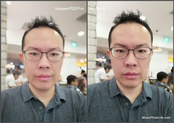 Compare Huawei P20 Pro vs. Honor 10 - Selfie
