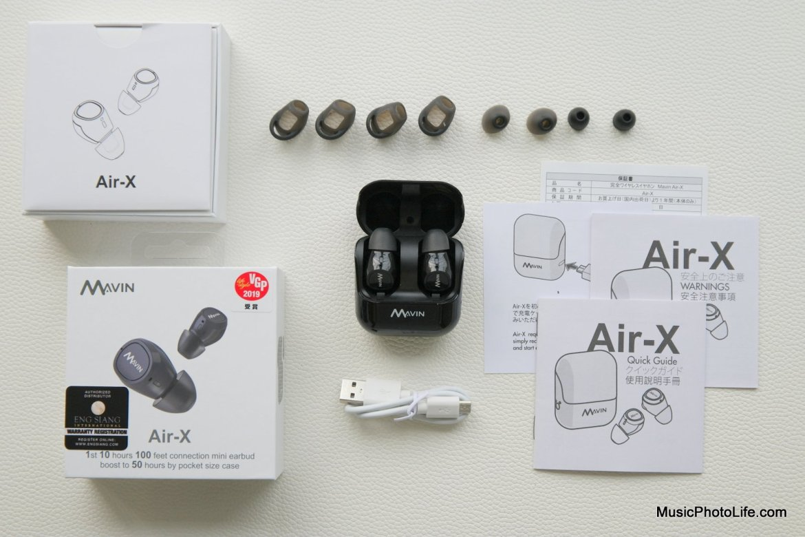 Mavin Air-X True Wireless Earbuds review at musicphotolife.com by Chester Tan