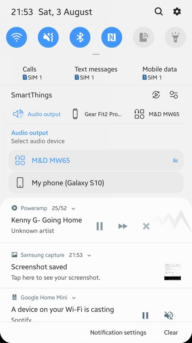 Samsung Galaxy S10 Screen - Bluetooth Dropdown