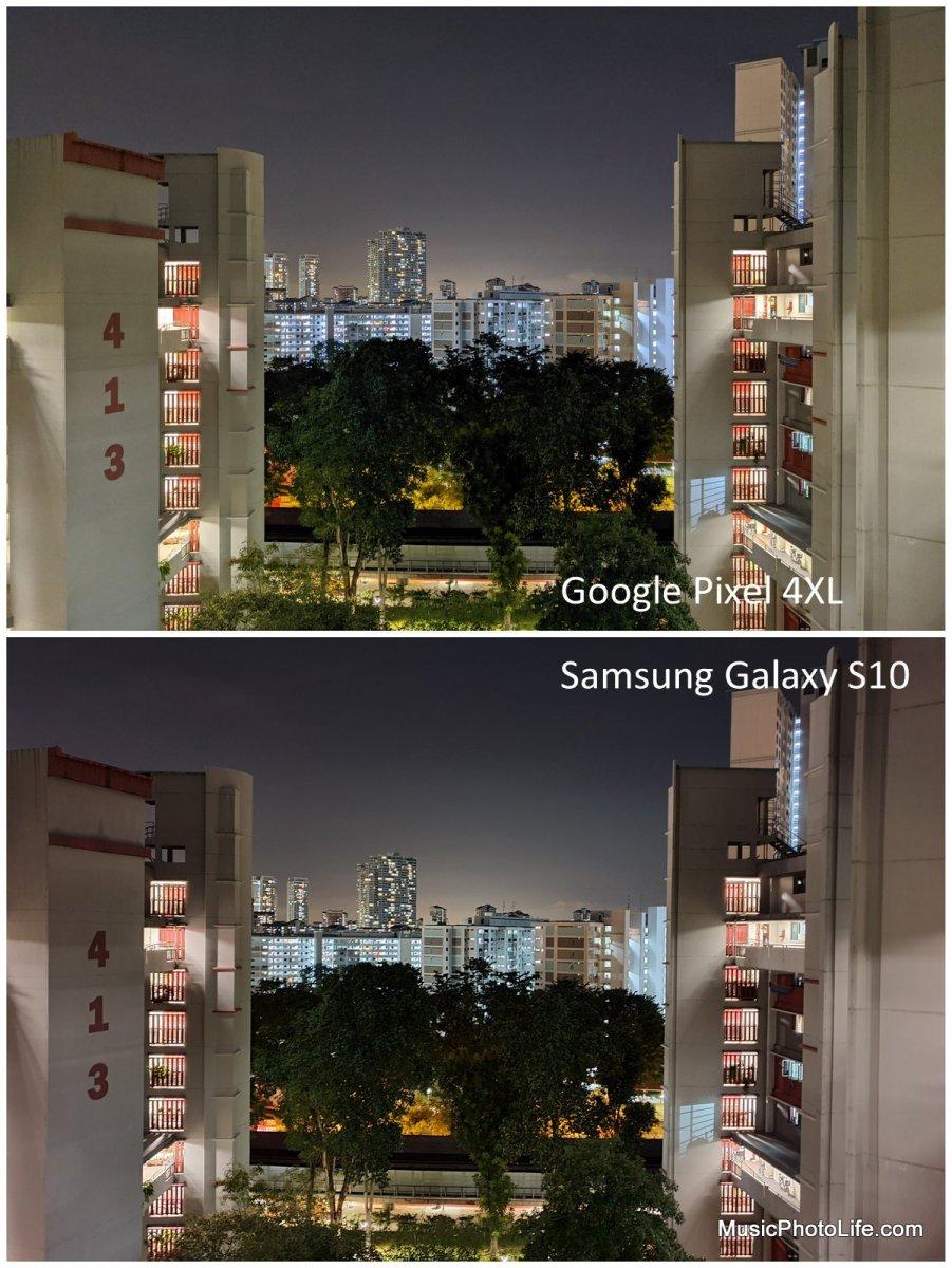 Compare Pixel 4XL Samsung Galaxy S10 - night shot