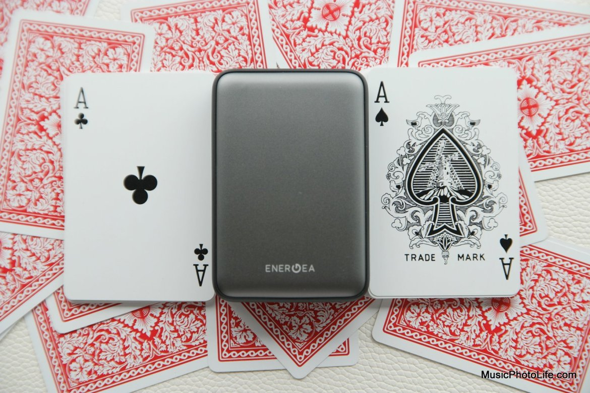 EnerGea ComPac AluMini 10000mAh powerbank compares with deck of playing cards