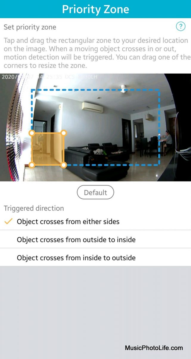 D-Link DCS-8330LH Smart AI WiFi Camera priority zone detection settings on mydlink app