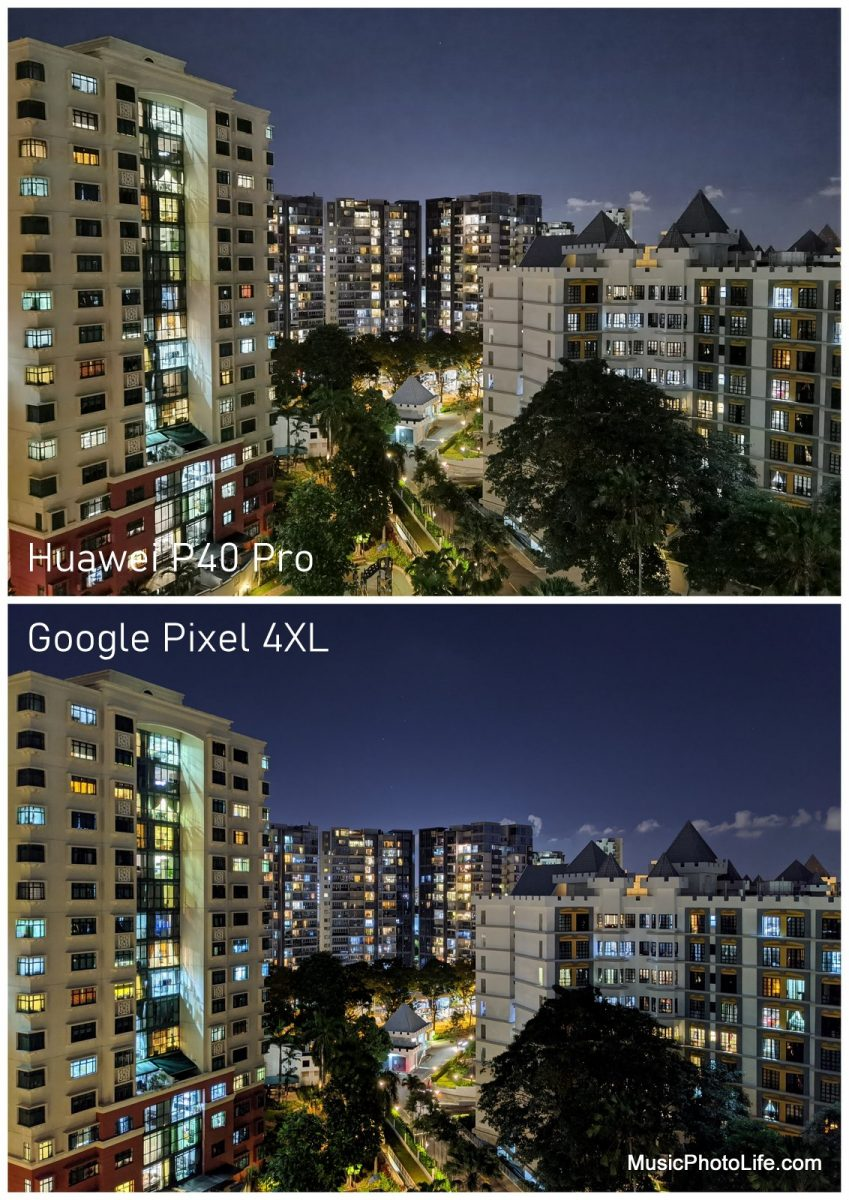 Compare Huawei P40 Pro with Google Pixel 4XL - night