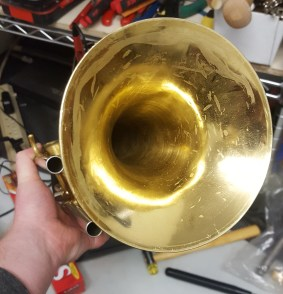 Creased Trumpet Bell Repair Music Time Academy Livermore Dublin rental repair shop band brass woodwind wood wind instruments
