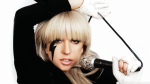 Lady Gaga - white gloves - microphone - blonde