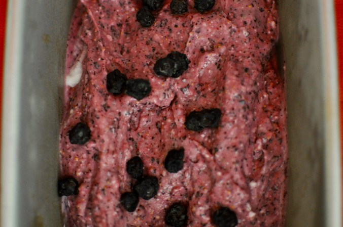 A tray full of pink fig and blueberry frozen yogurt covered with dried blueberries.