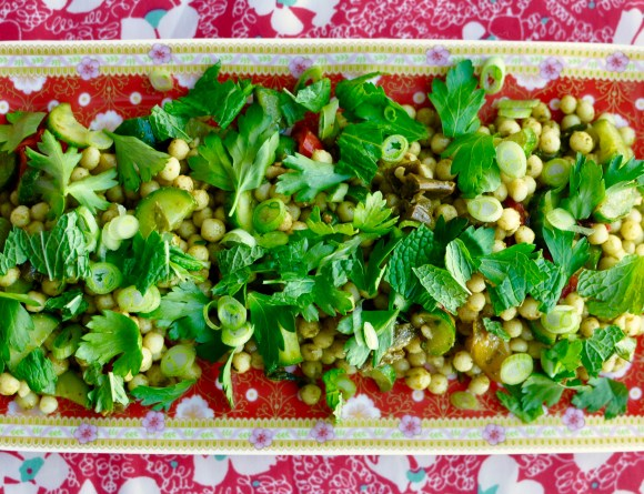 Israeli Couscous salad with creamy avocado herb dressing