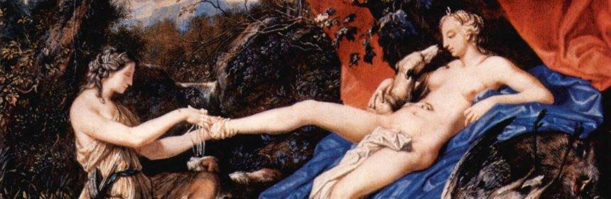 Joseph Werner: Diana von der Jagd ausruhend. 1663, Guache, 11,7 × 16,7 cm.
