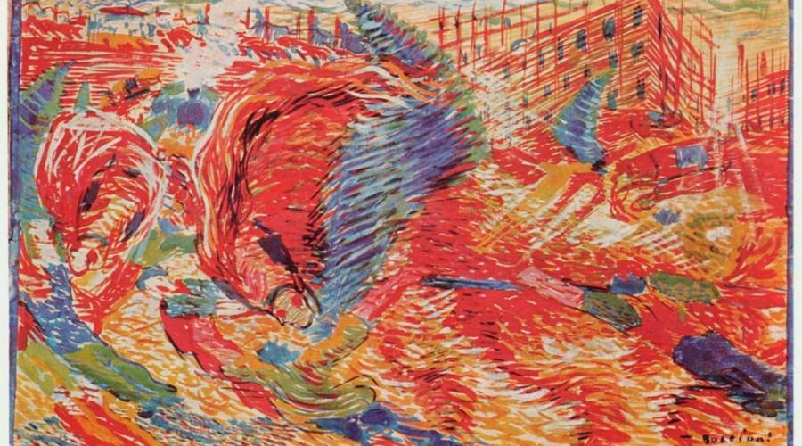 Umberto Boccioni: Die Stadt erhebt sich. 1910, Leinwand, 200 × 301 cm