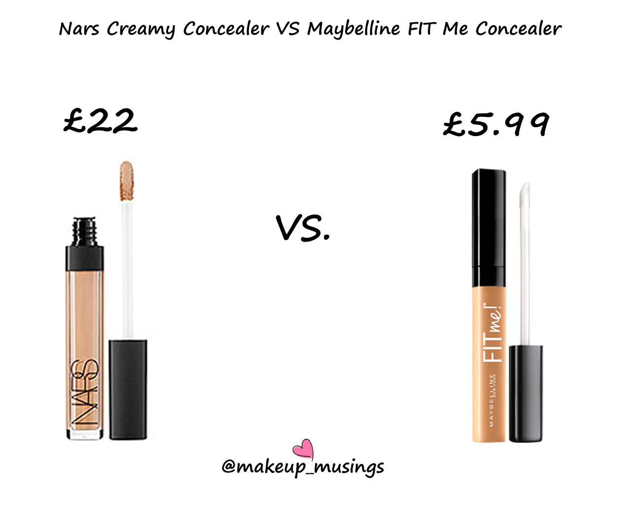 Maybelline Fit Me Concealer Vs Nars Creamy Radiant Comparing It To The Packaging Is Almost Identical Obvious See Why This A Dupe They Both Have Doe Foot