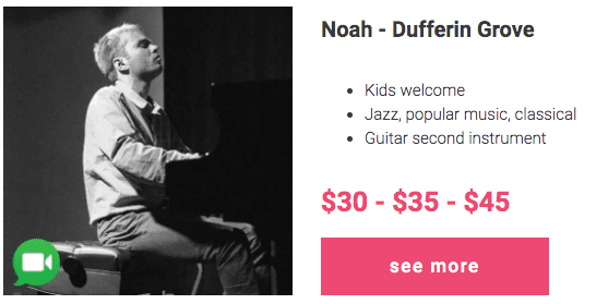 Noah - affordable piano lessons in Dufferin Grove, Toronto