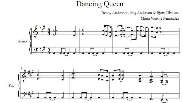 """Partitura de """"Dancing Queen"""" (ABBA) para piano"""