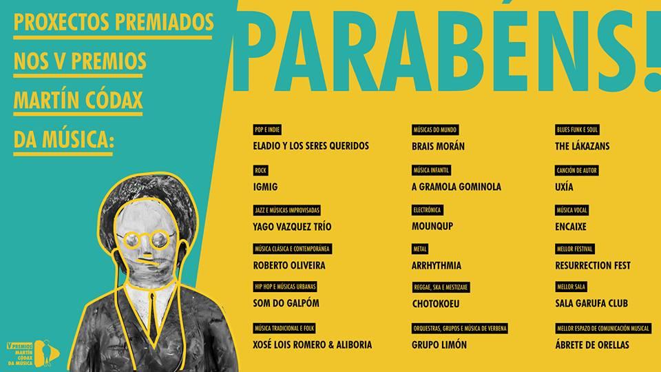 Proyectos premiados en la Gala de los V Premios Martín Códax da Música