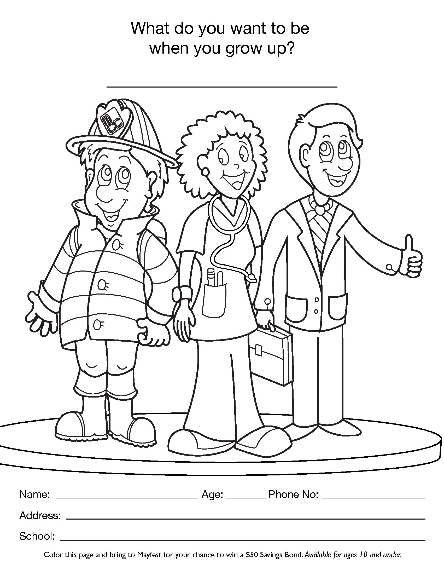 Career Day Coloring Pages Sketch Coloring Page