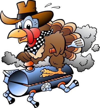 Thanksgiving Turkey riding a BBQ grill barrel