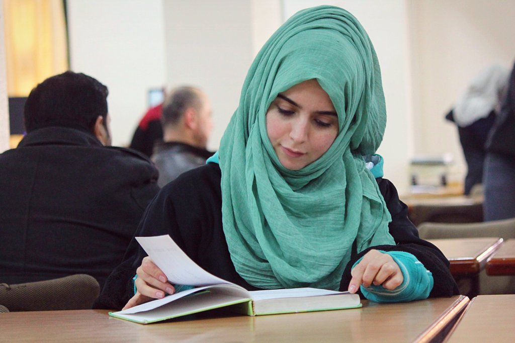 Rukeiya at the library of The Islamic University of Gaza. PHOTO: Asmaa Elkhaldi