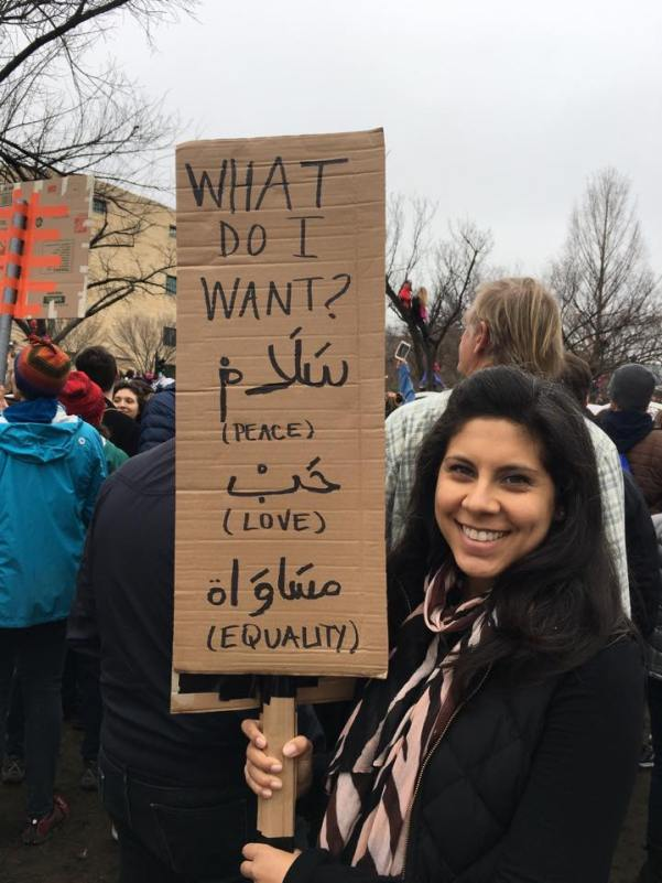 Photo from Zahra Ibrahim. A photo of a marcher in D.C.