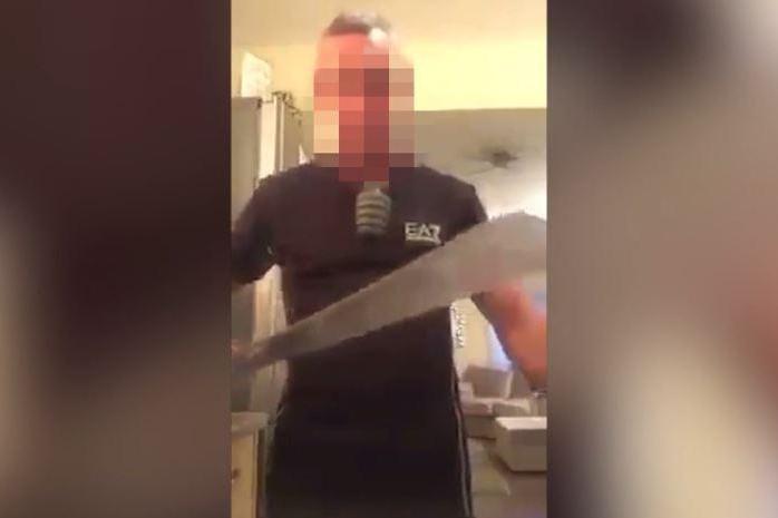Man Wielding a Machete Threatens to Kill Muslims in Facebook Video