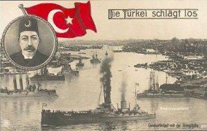 صورة للأسطول العثماني داخل مضيق القرن الذهبي على بطاقة بريدية ألمانية تعود للسنوات الأولى من الحرب العالمية الأولى.