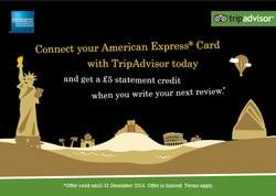 Connect your Amex with TripAdvisor & get £5 for your published hotel Review